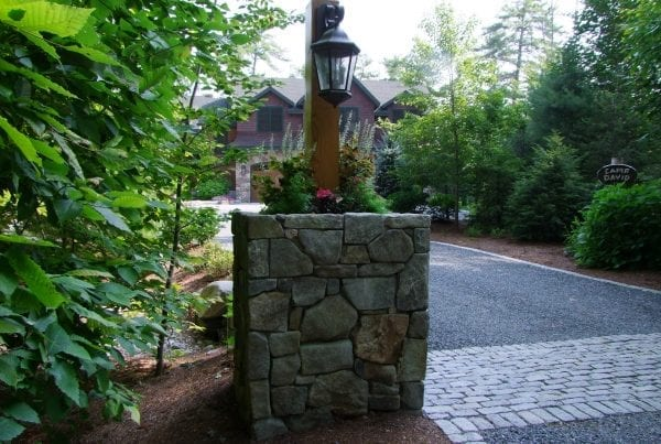 Rock Light Post and Driveway