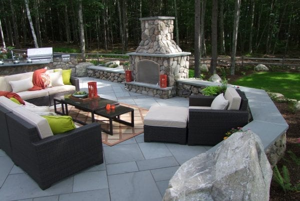 Fireplace, Patio and Outdoor Kitchen by Belknap Landscape Co.